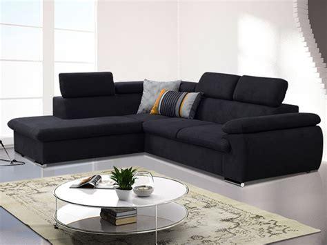 canapé d 39 angle convertible en tissu taupe ou noir fabien