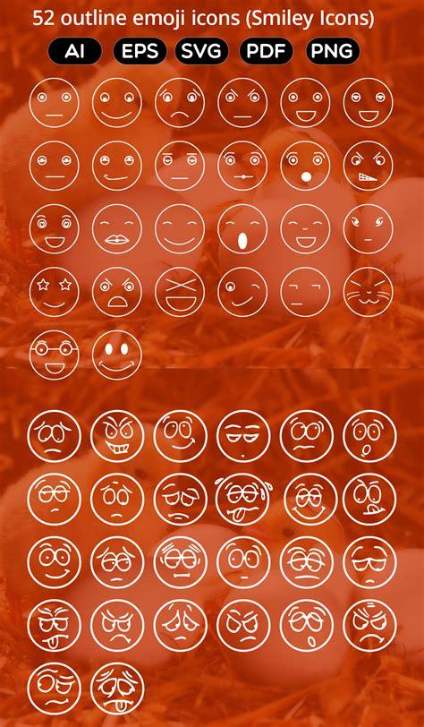 outline emoji icons smiley icons