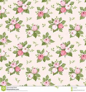 Seamless Pattern With Pink Rose Buds And Leaves. Stock ...