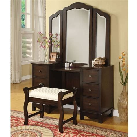 foyer tables ideas annapolis 3 pcs makeup vanity set tri folding mirror bench