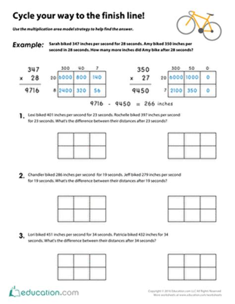multiplication worksheets 187 area model multiplication