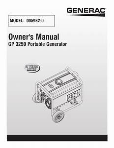 Generac Gp 3250 Portable Generator 005982