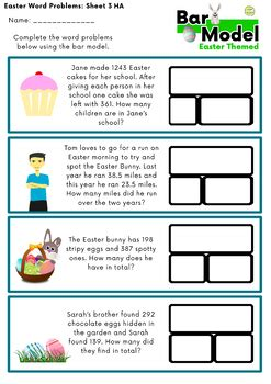 bar model easter addition  subtraction word problems
