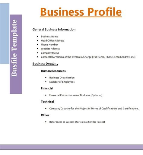 Business Template 2 Best Business Profile Templates Free Word Templates