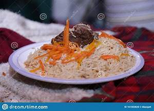 Afgani Traditional Rice On Plate With Carrot Slices And Meat - Close Up View - Food Photography ...