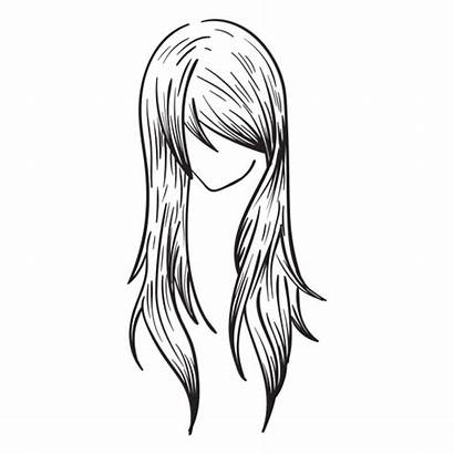 Hair Straight Woman Hand Drawn Transparent Svg
