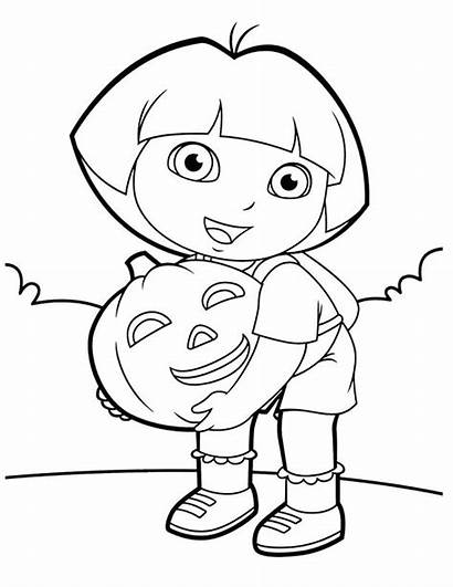 Dora Coloring Halloween Pages Printable Simple Why