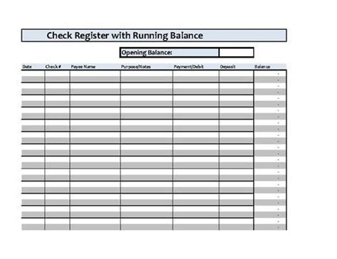 checkbook register spreadsheet microsoft excel kid