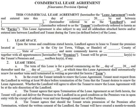top  resources   commercial lease agreement
