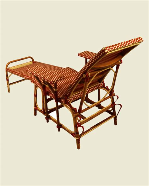 chaise drucker deck chair burgundy ivory maison drucker