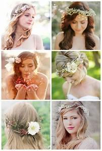 Couronne Fleur Cheveux Mariage : coiffure de mari e pour l 39 automne tendance hippy chic ~ Melissatoandfro.com Idées de Décoration