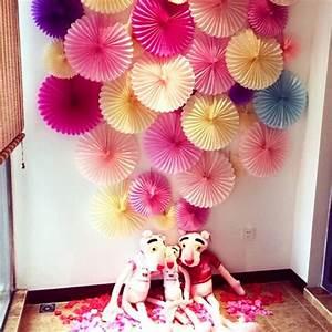 Decorative Crafts 30cm 10Pcs Flower Origami Paper Fan