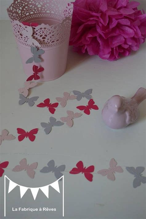 guirlande chambre fille guirlande papillons papier poudré gris