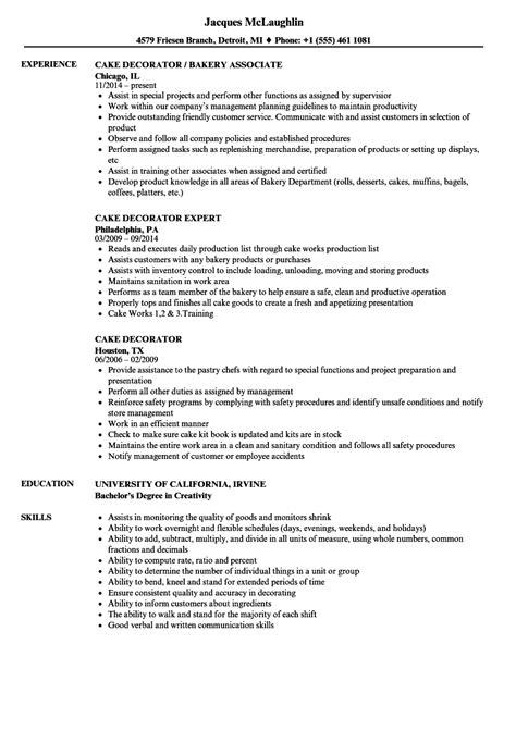 cake decorator resume samples velvet jobs