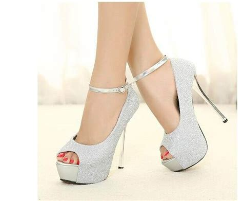 2015 Wedding Bride Women Platform Shoes High Heels Silver