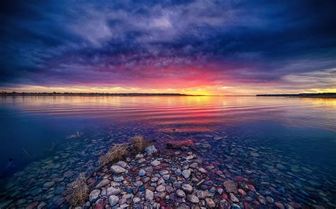 Wallpaper Backgrounds Desktop by Shallow Lake At Sunset Wallpapers And Images