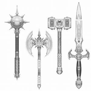 fantasy medieval weapons concept sketch | Weapons Chest ...