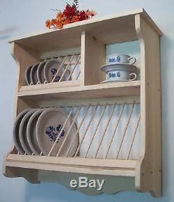 plate rack wood wooden wall mount fiestaware   shipping