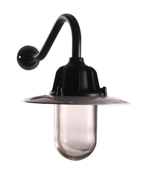 traditional swan neck outdoor wall light ip64 in black