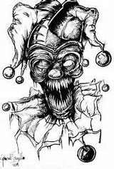 Coloring Demon Scary Evil Drawings Monster Drawing Face Clown Clowns Pencil Zombie Bing sketch template