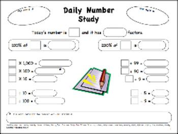 daily number study worksheet free ready to download and use by rachel owen