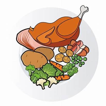 Cartoon Dinner Clipart Feast Chicken Ready Ham
