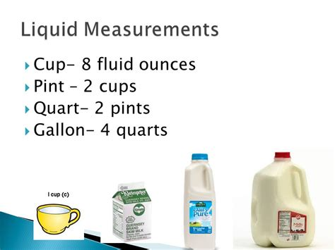 convert 4 cups to fluid ounces objective swbat to list and compare familiar liquid benchmarks ppt