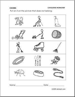 worksheet chores categories preschoolprimary abcteach