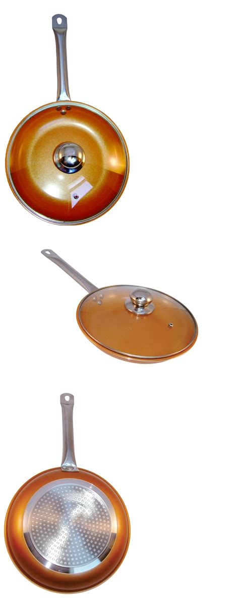 cookware  copper frying pan    glass lid ceramic coating  stick induction