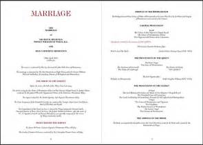 order wedding ceremony program order of service of the royal wedding of william and