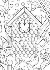 Coloring Pages Adult Adults Fun Kleurplaat Colouring Bos Sheets Vogelhuisje Endless Xl Printable Birdhouse Books Hours Cool Play Paper Hart sketch template