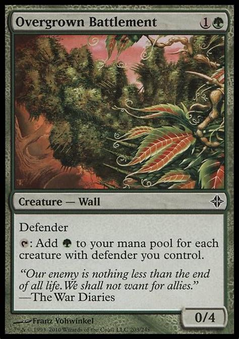 Mtg Defenders Deck Bfz by Overgrown Battlement 2 Cost Mana R Wall Defender