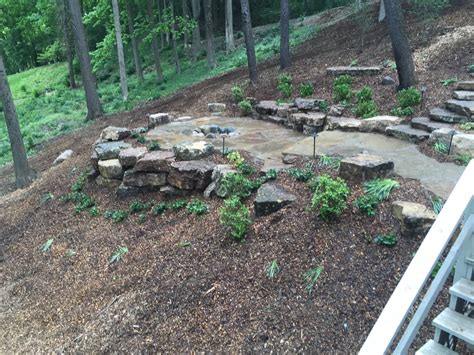 Natural Rock Landscape Design On A Sloped And Wooded. Party Ideas Out Of The House. Fireplace Decor Ideas Modern. Modern Luxury Bathroom Ideas. Under Vanity Storage Ideas. Basement Wall Insulation Ideas. Decorating Ideas Grey Living Room. Office Buffet Ideas. Kitchen Cupboard Reno Ideas