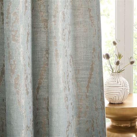 Bark Texture Jacquard Curtain   Dusty Blue   west elm