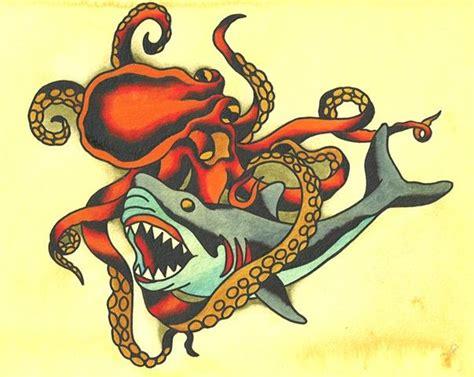 octopus fighting shark tattoo sleeve ideas pinterest
