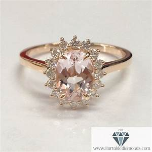 oval cut morganite diamond halo plain band engagement ring With halo ring with plain wedding band