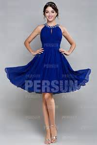 robe bleu roi mariage robe demoiselle d honneur courte col ronde orné de strass robespourmariage fr