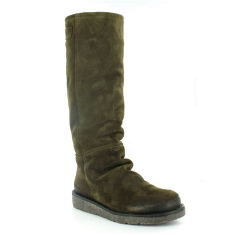 bronx  womens suede leather knee high pull  boots