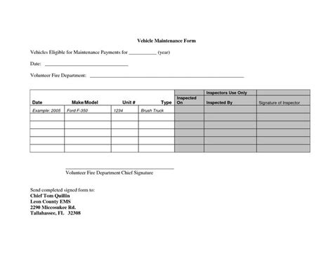 vehicle maintenance forms planner template