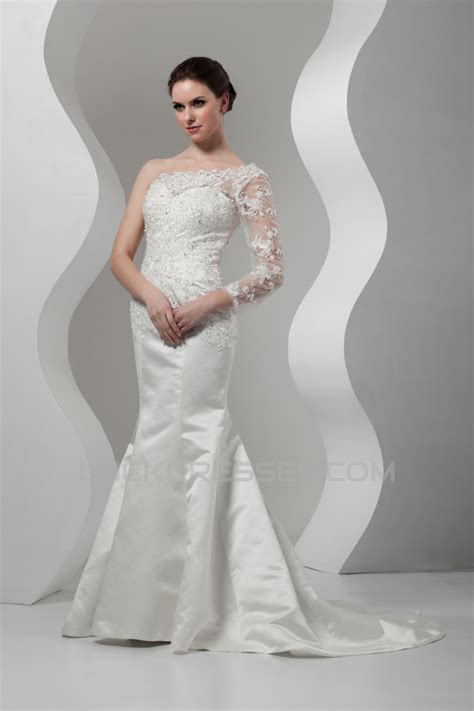 New Arrival Mermaid/Trumpet Satin Lace One-Shoulder ...