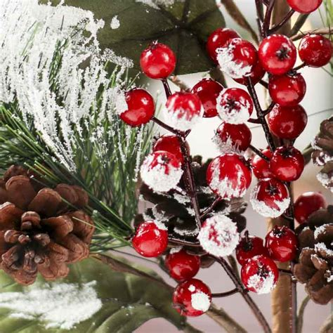 large snowy christmas artificial pine pick picks