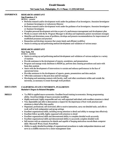 Assistant Resume by Research Assistant Resume Sles Velvet