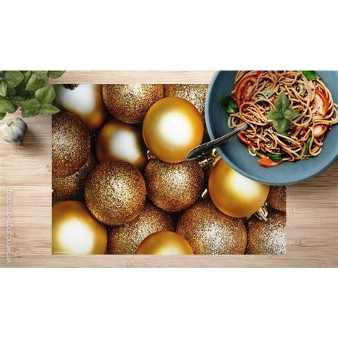 tischsets platzsets goldene weihnachtskugeln aus
