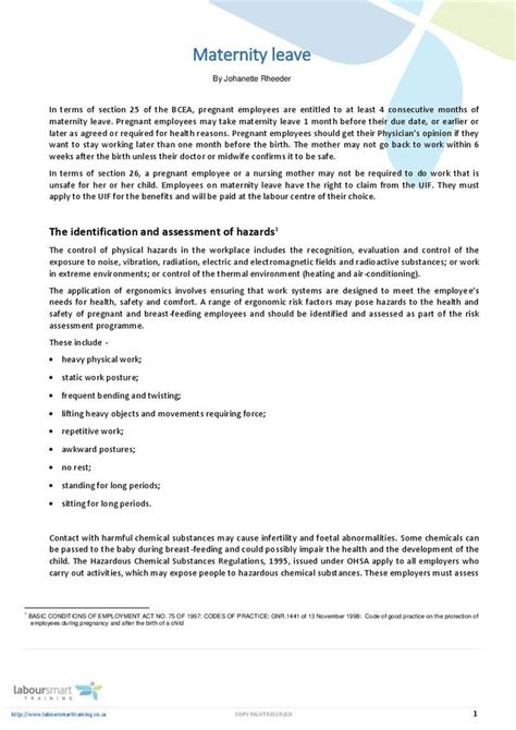 maternity leave document labour law south africa