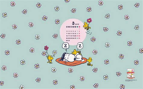 Snoopy March 2015 Wallpaper Calendar