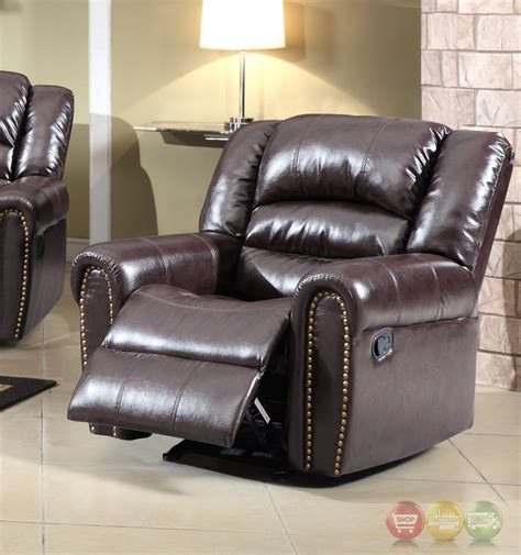 684 brown leather rocker reclining chair with nailhead trim