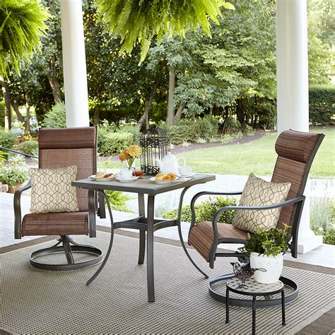 Our patio furniture sets are easy, affordable additions for nearly any outdoor space. Jaclyn Smith Marion 3 Piece Bistro Set *LIMITED AVAILABILITY* - Outdoor Living - Patio Furniture ...