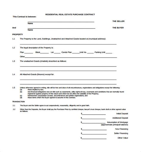 sample real estate contract templates