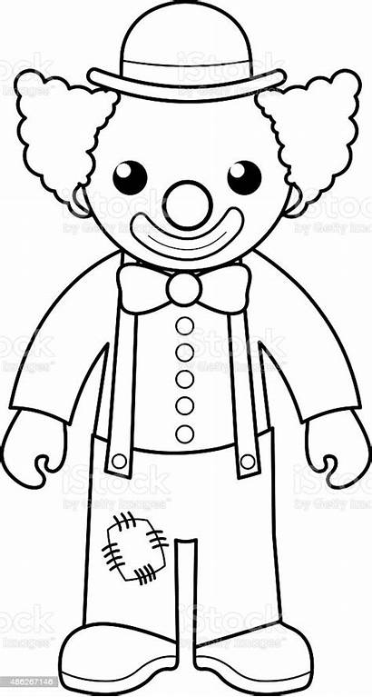Clown Coloring Cartoon Illustration Vector Activity