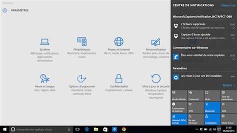 afficher icone bureau comment peaufiner le centre de notifications dans windows 10